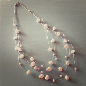 White Stone Layered Wire Necklace